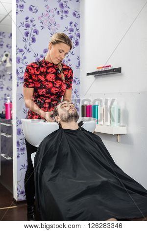 Hairstylist Washing Customer's Hair In Salon