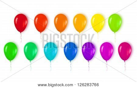 Realistic 3d Colorful Glossy Balloons Flying for Happy Birthday Party and Celebrations. Trendy Design element on white background. Vector Illustration