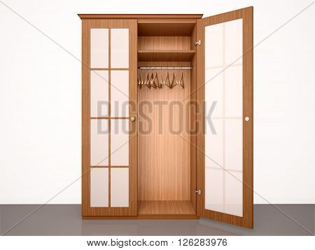 3d illustration of The empty half-open wooden wardrobe with hangers and transparent doors