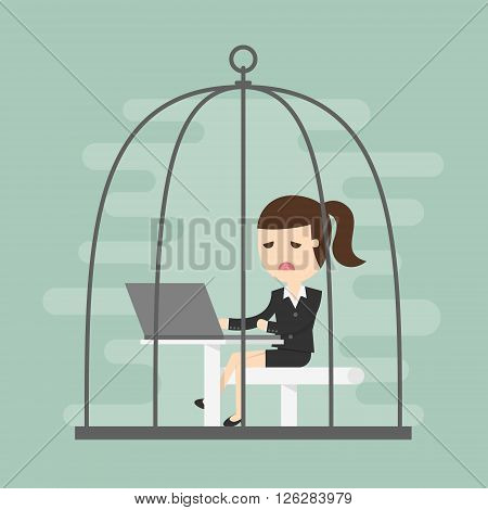 Bored business woman working in birdcage. Business Concept Cartoon Illustration.