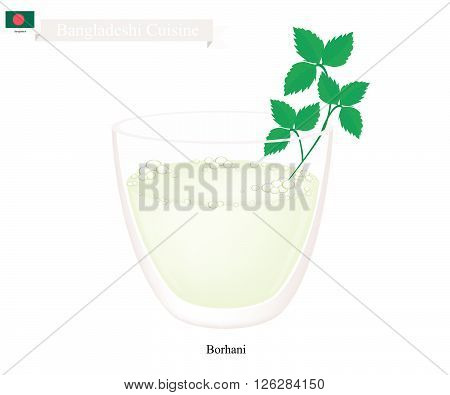 Bangladeshi Cuisine Borhani or Salted Mint Lassi or Salted Yogurt Drink with Mint. One of The Most Popular Drink in Bangladesh.