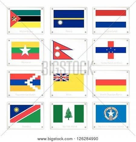 Flags of Mozambique Nauru Netherlands Myanmar Nepal Netherlands Antilles Nagorno Karabakh Niue North Ossetia Alania Namibia Norfolk Island and Northern Mariana Islands.