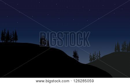 Scenery hills at the night with spruce tree
