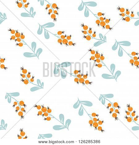 Forest berries. vector seamless pattern with hand painted red berries
