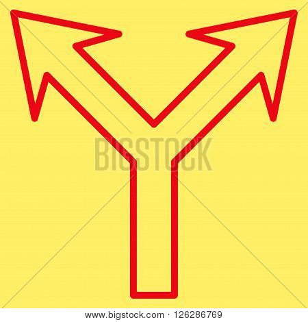 Bifurcation Arrow Up vector icon. Style is stroke icon symbol, red color, yellow background.