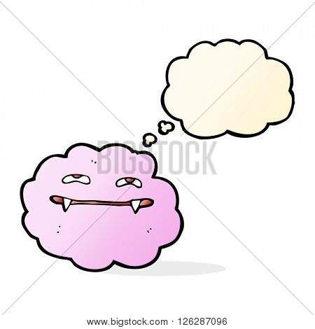 cartoon pink fluffy vampire cloud with thought bubble