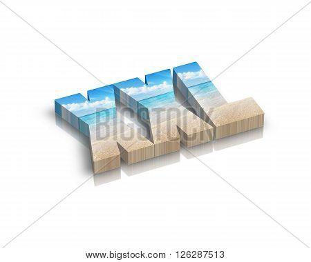 xxl - 3d word with reflection !