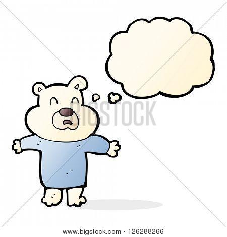 cartoon unhappy polar bear  with thought bubble