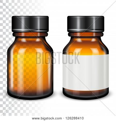Template of brown glass bottle with screw cap. Vector illustration