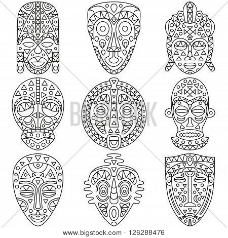 Set of line icons. Different ethnic masks. Vector illustration