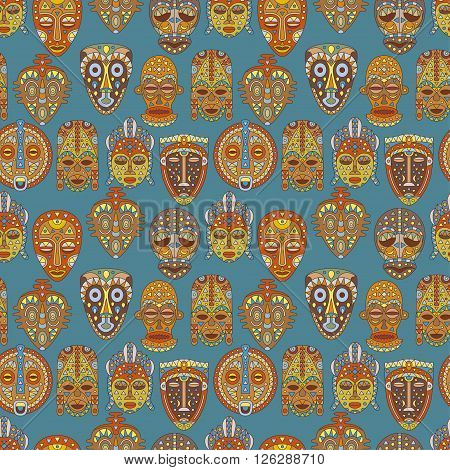 Seamless pattern. Background with different ethnic masks. Vector illustration