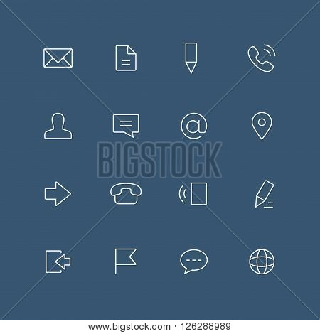 Contacts thin outline icon set with rounded corners - different symbols on the dark background