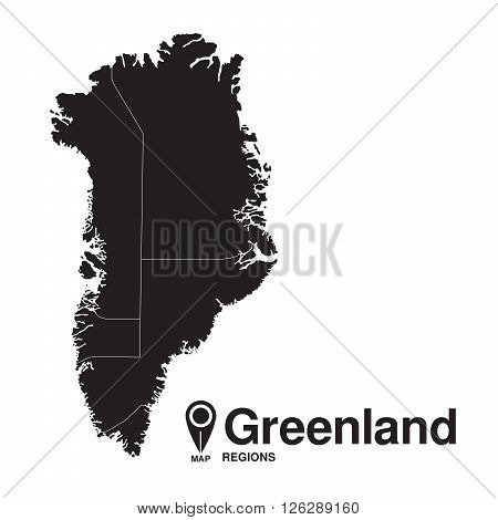 Greenland map regions. vector map silhouette of Greenland