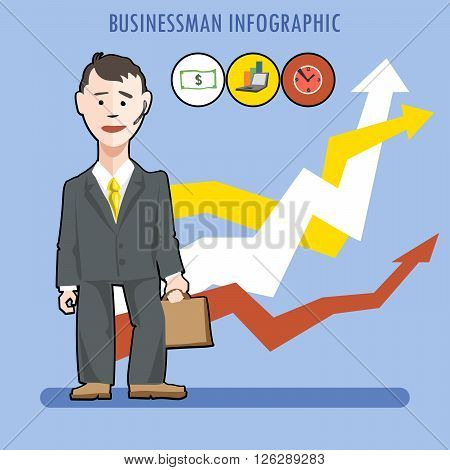 Business man presenting an infographic with charts