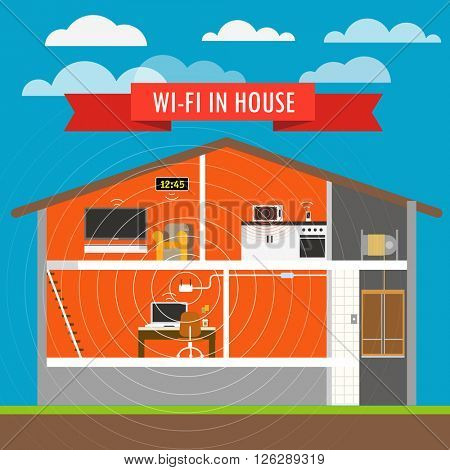Internet connection in house infographics. Vector scheme