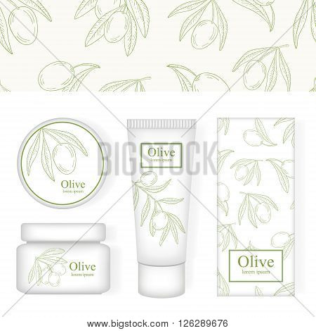Cosmetic packing with the image of olives. Olive cosmetic cream. Pattern with olives.