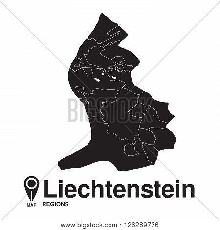 Liechtenstein map regions. vector map silhouette of Liechtenstein