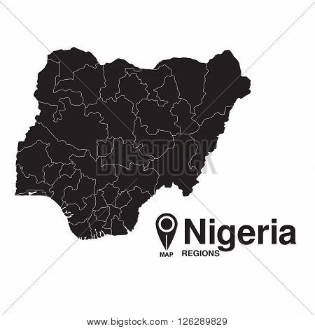 Nigeria map regions. vector map silhouette of Nigeria
