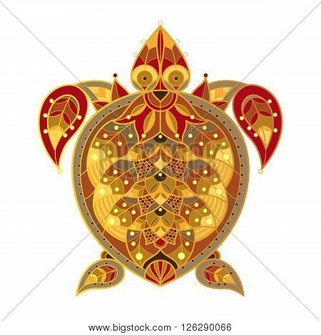Sea turtle. Vector decorative illustration turtle isolated on white background. Patterned image of a turtle.