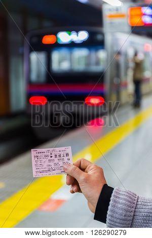 Tokyo Japan - April 7 2016: Keisei limited express ticket from Narita international airport to Ueno station.