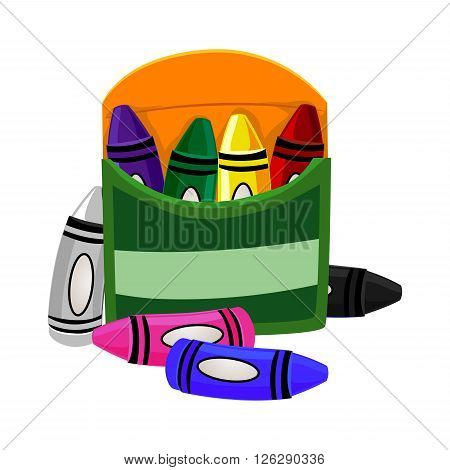 Vector Illustration of Crayons Colors inside Box