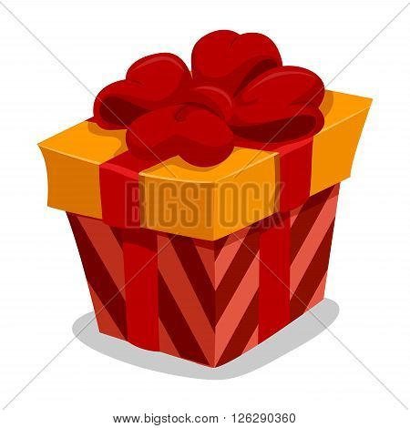 Vector Illustration of Red Gift Box with Red Ribbon