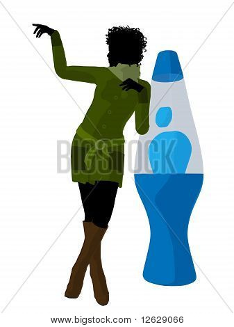 African American Disco Girl Silhouette Illustration