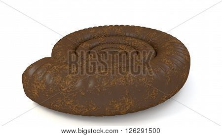 Brown seashell ammonite isolated on white background 3D Illustration