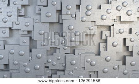 Steel metal plate armor with rivets abstract 3D Illustration