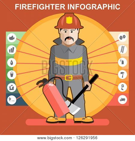 Fire fighter in fire suit man presenting an infographics