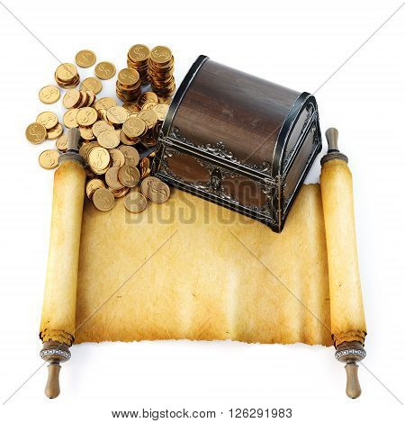 Pirate treasure chest with ancient map. Isolated on white background. 3D illustration.