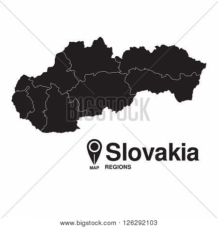 Slovakia map regions. vector map silhouette of Slovakia