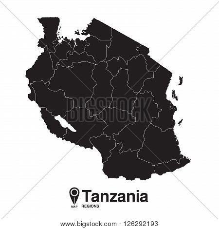 Tanzania map regions. vector map silhouette of Tanzania