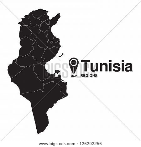 Tunisia regions map. vector map silhouette of Tunisia