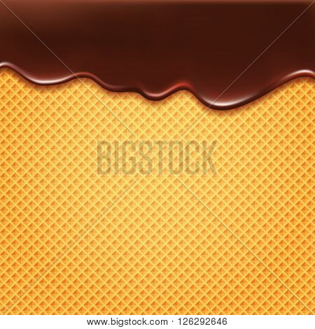 Wafer and flowing chocolate - vector background