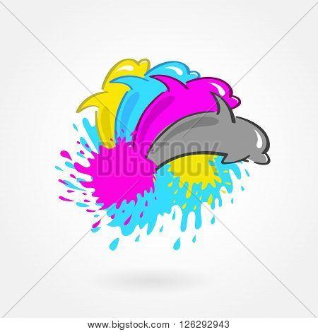 dolphin print symbol logo cmyk vector design