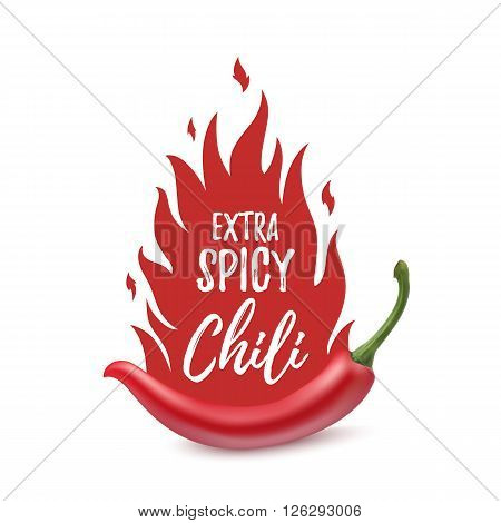 Extra spicy chili paper poster, badge or banner template with fire, isolated on white background. Vector illustration.