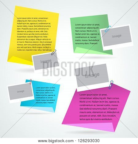 set stiker note text and photo template colorful background