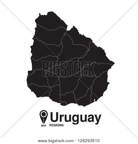 Uruguay map regions. vector map silhouette of Uruguay