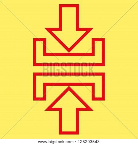 Pressure Vertical vector icon. Style is stroke icon symbol, red color, yellow background.