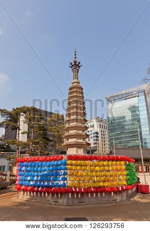 SEOUL SOUTH KOREA - MARCH 14 2016: Pagoda of Jogyesa Temple (founded in 1395 as Gakhwangsa Temple) in Seoul Korea. Jogyesa Temple is the center of Seon (Zen) Buddhism in Korea