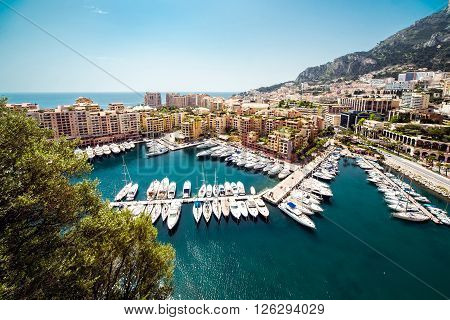 View from the top to the Fontvieille. Principality of Monaco