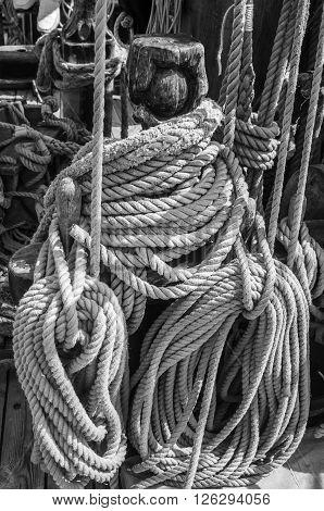 Rope and rigging at the old sailboat, close-up