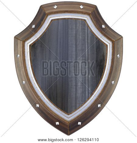 Medieval wooden shield. Isolated on white background. 3D illustration.