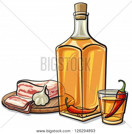 illustration of the ukrainian vodka with chilly pepper