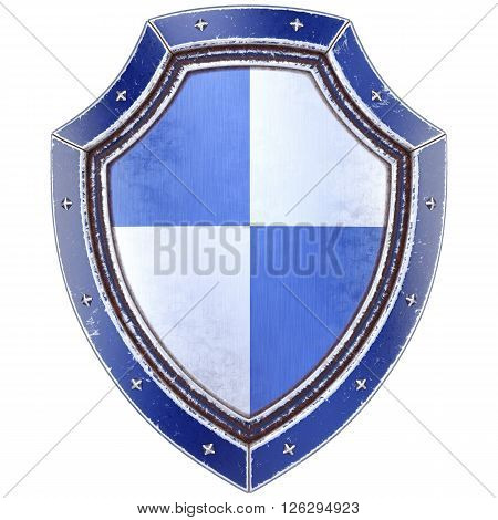 Protection shield. Isolated on white background. 3D illustration.