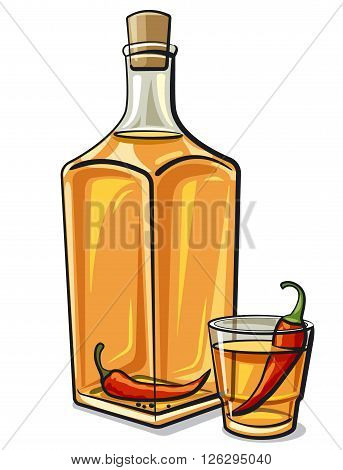 illustration of the traditional ukrainian spicy vodka