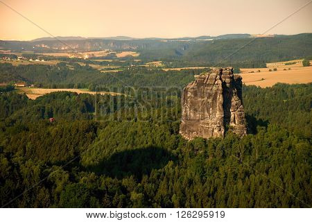 Popular Climbers Resort In Saxony Park, Germany. Sharp Sandstone Cliffs Above Deep Valley.