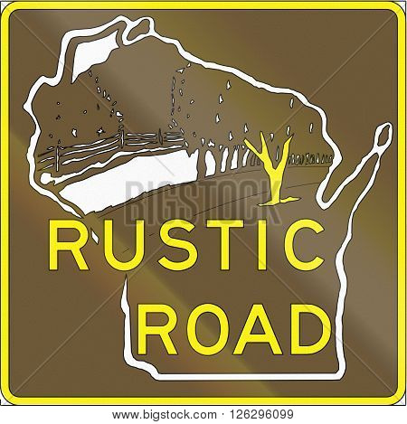 Rustic Road Marker Used In Wisconsin, Us
