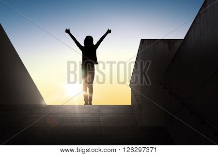 gesture, success, achievement and people concept - happy young woman or teenage girl silhouette show